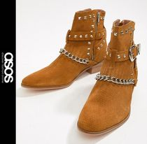 ASOS Suede Studded Chain Boots