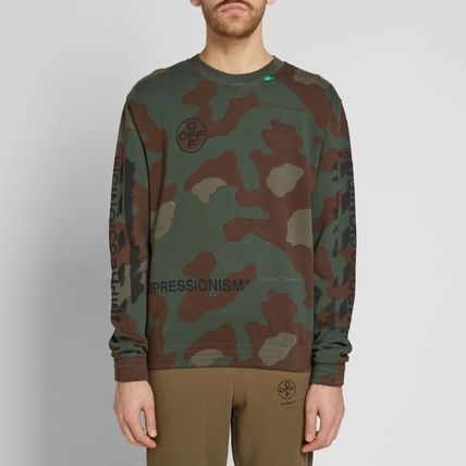 Off-White Sweatshirts Crew Neck Camouflage Street Style Long Sleeves Cotton 3