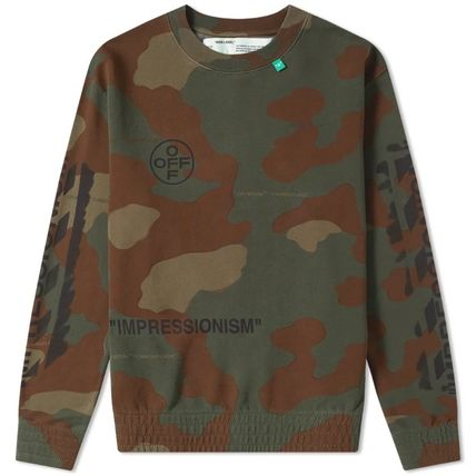 Off-White Sweatshirts Crew Neck Camouflage Street Style Long Sleeves Cotton 11