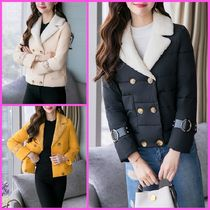 Short Casual Style Faux Fur Plain Peacoats