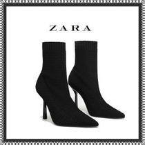 ZARA Plain Pin Heels Elegant Style Ankle & Booties Boots