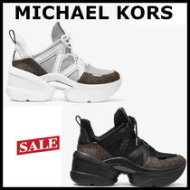 Michael Kors Monogram Platform Round Toe Lace-up Casual Style
