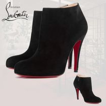 Christian Louboutin Plain Toe Bi-color Plain Leather Pin Heels Elegant Style