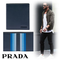 PRADA Street Style Plain Leather Folding Wallets