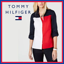 Tommy Hilfiger Bi-color Long Sleeves Plain Cotton Long Office Style