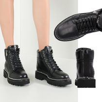 BALMAIN Round Toe Rubber Sole Casual Style Chain Leather Boots Boots