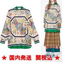 GUCCI Flower Patterns Casual Style Silk Long Sleeves