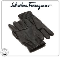 Salvatore Ferragamo Plain Leather Leather & Faux Leather Gloves