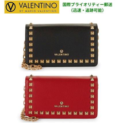 Studded Chain Plain Leather Long Wallets