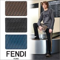 FENDI Monogram Leather Clutches