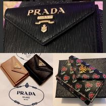 PRADA Unisex Plain Leather Folding Wallet Small Wallet Logo