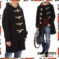 Burberry Wool Blended Fabrics Plain Duffle Coats