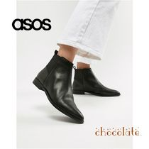 ASOS Casual Style Plain Leather Ankle & Booties Boots