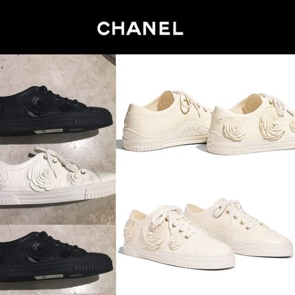 CHANEL Low-Top Casual Style Street Style Plain Leather Low-Top Sneakers