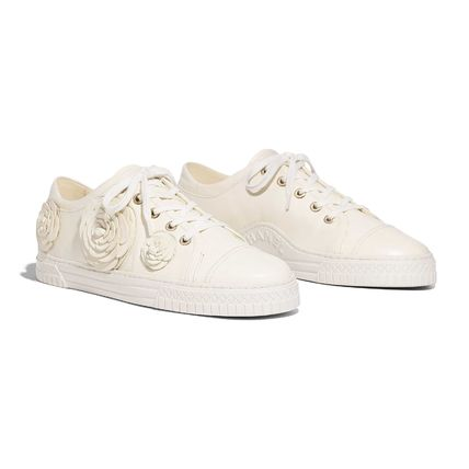 CHANEL Low-Top Casual Style Street Style Plain Leather Low-Top Sneakers 6