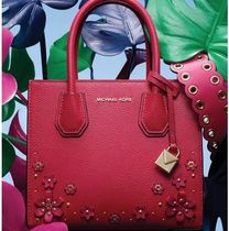 Michael Kors MERCER Flower Patterns Studded 2WAY Plain Leather Elegant Style