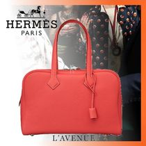 HERMES Victoria Plain Leather Elegant Style Handbags