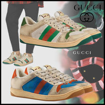 GUCCI Stripes Dots Blended Fabrics Street Style Leather Sneakers