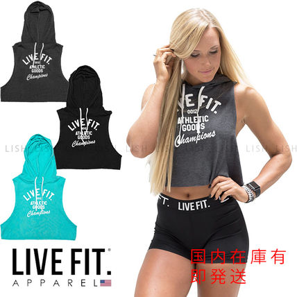 Live Fit Short Sleeveless Street Style Logo Tanks & Camisoles