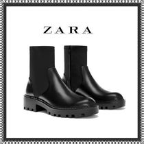 ZARA Plain Toe Rubber Sole Casual Style Plain
