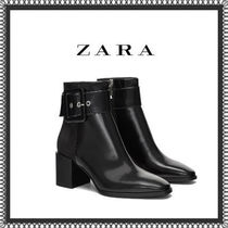 ZARA Plain Elegant Style Chunky Heels Ankle & Booties Boots