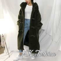 Casual Style Street Style Plain Long Oversized Khaki