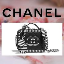 CHANEL Stripes Calfskin Vanity Bags 2WAY Chain Elegant Style
