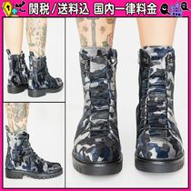 DOLLS KILL Camouflage Round Toe Lace-up Casual Style Lace-up Boots