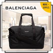 BALENCIAGA Unisex Nylon Street Style A4 2WAY Plain Boston & Duffles