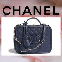 CHANEL Calfskin Vanity Bags 2WAY Chain Plain Elegant Style Handbags