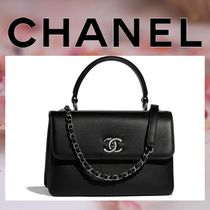 CHANEL Calfskin 2WAY Chain Plain Elegant Style Handbags