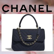 CHANEL 2WAY Chain Plain Elegant Style Handbags