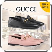 GUCCI Round Toe Casual Style Blended Fabrics Bi-color Plain