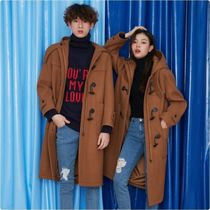 Casual Style Unisex Wool Plain Long Duffle Coats