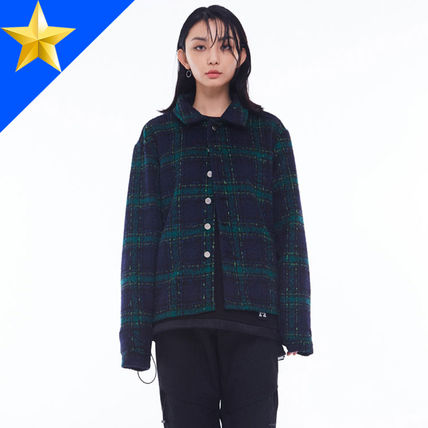 Short Other Check Patterns Unisex Street Style Jackets
