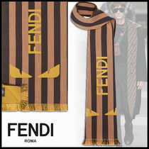 FENDI BAG BUGS Stripes Wool Fringes Scarves
