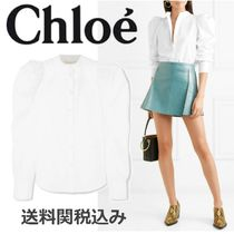 Chloe Puffed Sleeves Plain Cotton Elegant Style Shirts & Blouses