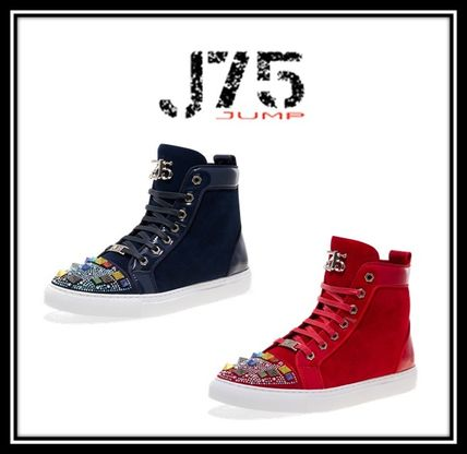 Suede Blended Fabrics Studded Street Style Plain Sneakers