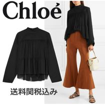 Chloe Long Sleeves Plain Elegant Style Shirts & Blouses