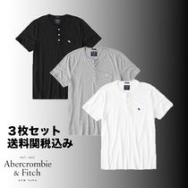 Abercrombie & Fitch Unisex Henry Neck Plain Cotton Short Sleeves Henley T-Shirts