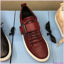 LANVIN Round Toe Casual Style Plain Leather Low-Top Sneakers