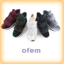 Wedge Plain Toe Casual Style Fur Handmade Python Shoes
