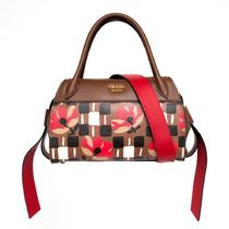 PRADA Flower Patterns Street Style Elegant Style Handbags