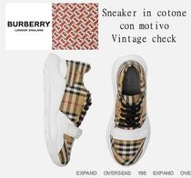 Burberry Other Check Patterns Fur Street Style Sneakers