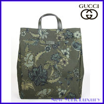 GUCCI Flower Patterns Unisex Cambus Totes