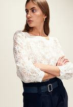 CLAUDIE PIERLOT Flower Patterns Puffed Sleeves Lace Shirts & Blouses