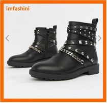 ASOS Casual Style Faux Fur Studded Plain Boots Boots