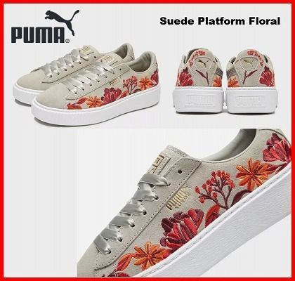 e1078f7ee64 PUMA Flower Patterns Suede Low-Top Sneakers (PUMA SUEDE PLATFORM ...