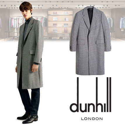 Other Check Patterns Wool Long Chester Coats