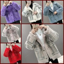 Short Tartan Casual Style Fringes Peacoats